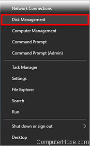 Screenshot: Open the Power User Tasks Menu by pressing Win + X, and select Disk Management.