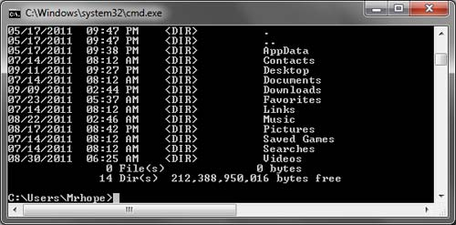 Listing files in the Windows command line