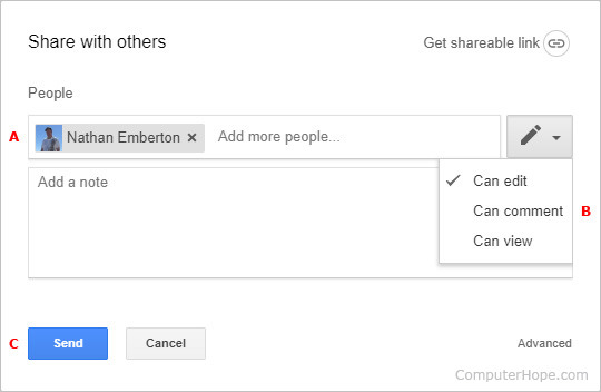 The prompt where you fill in file sharing details in Google Drive.