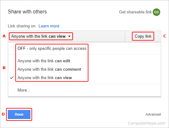 The options menu for shareable links in Google Drive.