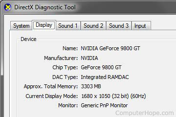 DxDiag video card information with video memory listed