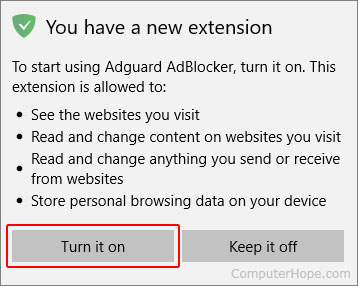 The button to turn on a newly added extension in Microsoft Edge.