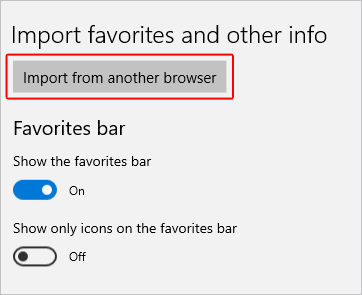 The import from another browser in Microsoft Edge.