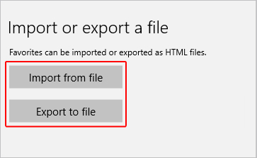 The buttons to import or export favorites.