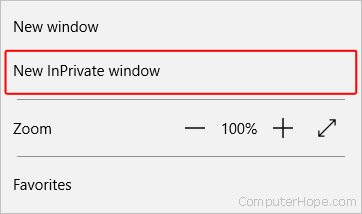InPrivate selector in Microsoft Edge.