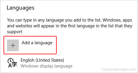 The section where you may add a language to Edge.