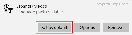 The button to set a default language in Edge.