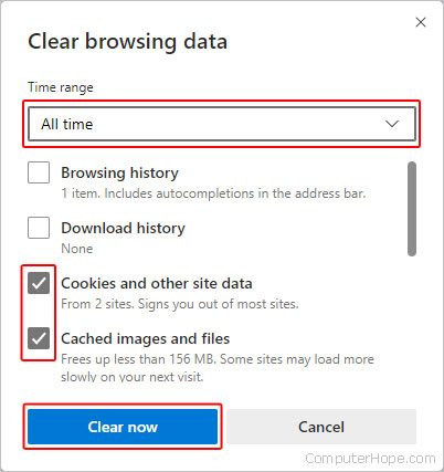 Clearing the cache and cookies in Edge.