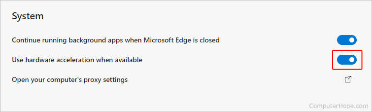 Toggling hardware acceleration in Microsoft Edge.