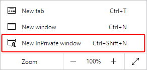 New InPrivate window selector in Edge.