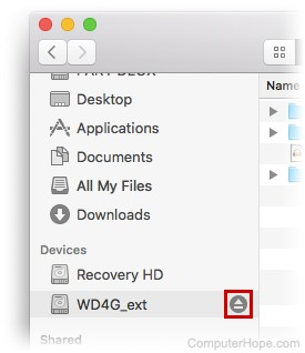 Screenshot: In the macOS finder, locate your external hard drive on the left under Devices, and click the eject icon next to its name.