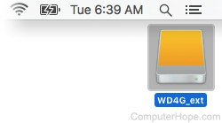 Screenshot: Select the external hard drive's  icon on your macOS desktop, and press Command+E.