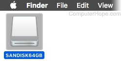 Screenshot: Select the USB flash drive icon on your macOS desktop, and press Command+E.