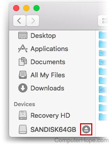 Screenshot: In the macOS finder, locate your USB flash drive on the left under Devices, and click the eject icon next to its name.