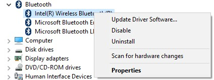 Device Manager with Bluetooth enabled