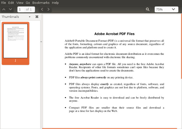 Viewing a PDF using Evince on Linux