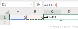 When you click cell B1, the cell reference is inserted after the + sign in the formula.