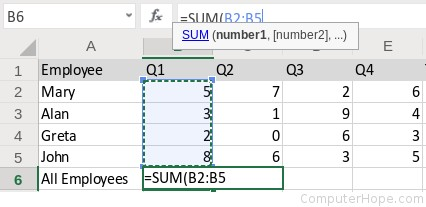 Hold the Shift key, and click cell B5. In the formula, :B5 is inserted after B2, creating the range B2:B5.