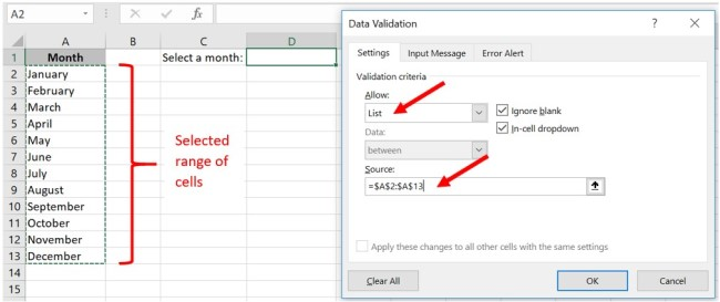 How to create a drop-down menu in Excel