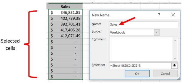Define a name for a selected range of cells in Microsoft Excel