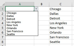 Drop down menu in Excel