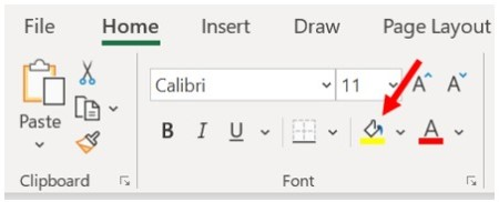 Microsoft Excel Home tab, Font section - Set background color