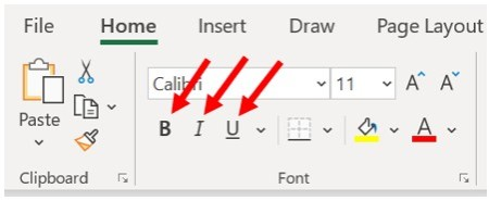 Microsoft Excel Home tab, Font section - Set bold, italics, underline