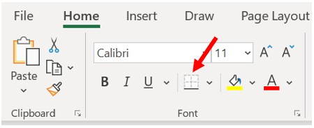Microsoft Excel Home tab, Font section - Set cell border
