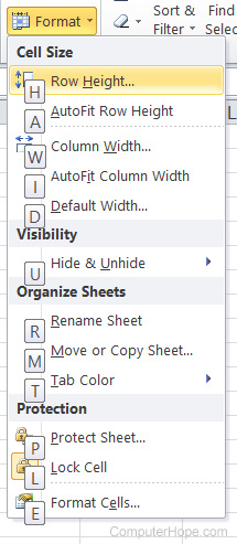 Microsoft Excel home tab format options