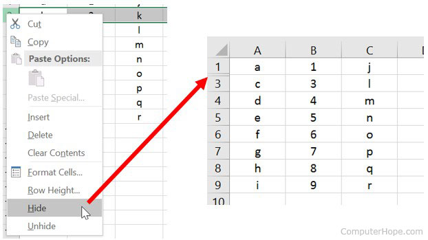 Hide row in Microsoft Excel.