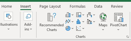 Create chart in Microsoft Excel