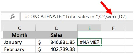 Missing double quotes around text in Excel formula