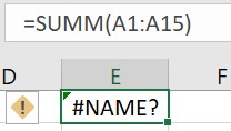 Misspelled formula name in Excel