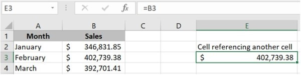 Referenced cell mirroring another cell in the same worksheet.