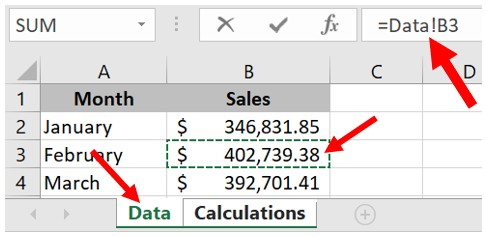 How to reference a cell from another cell in Microsoft Excel