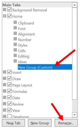 Rename new group in Excel Ribbon