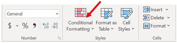 Microsoft Excel Home tab, Styles section - Set conditional formatting
