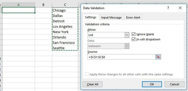 Data Validation to create drop down menu in Excel
