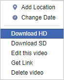 The selector that allows users to download a Facebook video in HD.