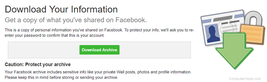 Facebook Download Your Information screen