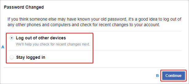 A prompt letting users know that their Facebook password has been changed.