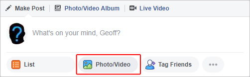 The button used to upload a picture or video to Facebook.