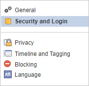 Security and login selector on Facebook.