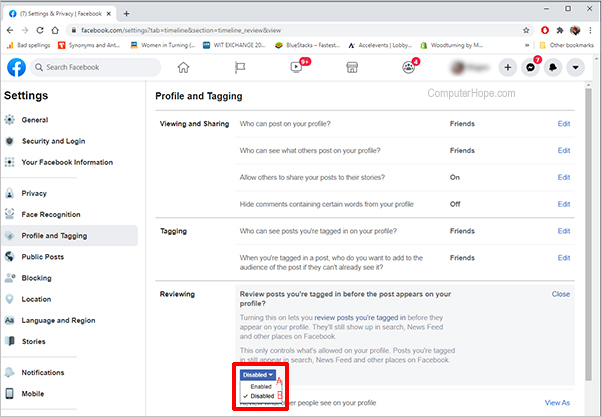 Facebook settings reviewing enabled disabled