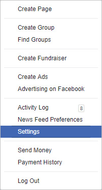 Settings selector on Facebook.