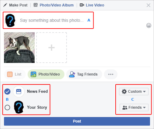 The window in which you make your selections for an upload to Facebook.