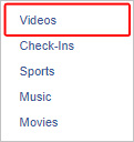 The videos selector on Facebook.