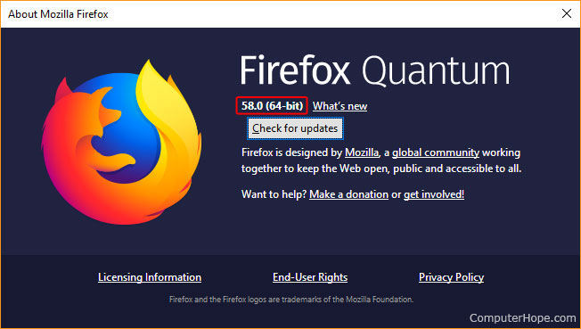The window that shows details about Firefox.