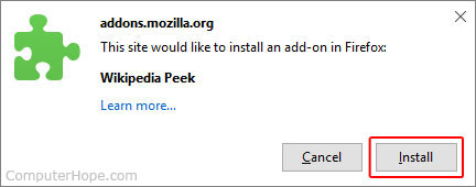 The prompt that asks the user to confirm their installation.