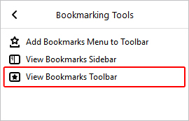 The menu option that allows users to toggle the bookmarks bar in Firefox.